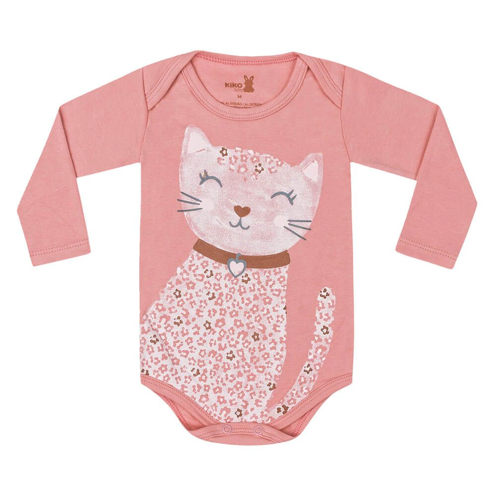 Body Bebê Menina Manga Longa Estampado Cat