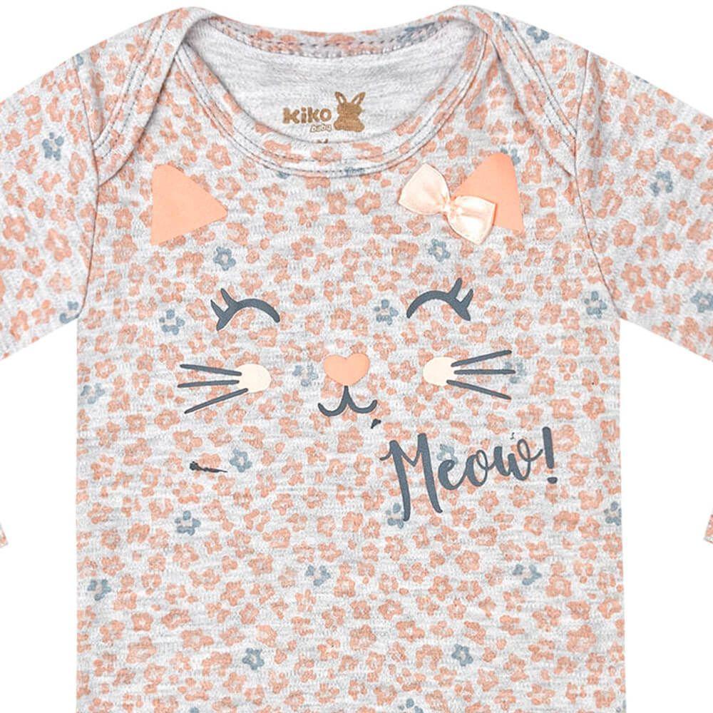 Body Bebê Menina Manga Longa Estampado Meow Laranja