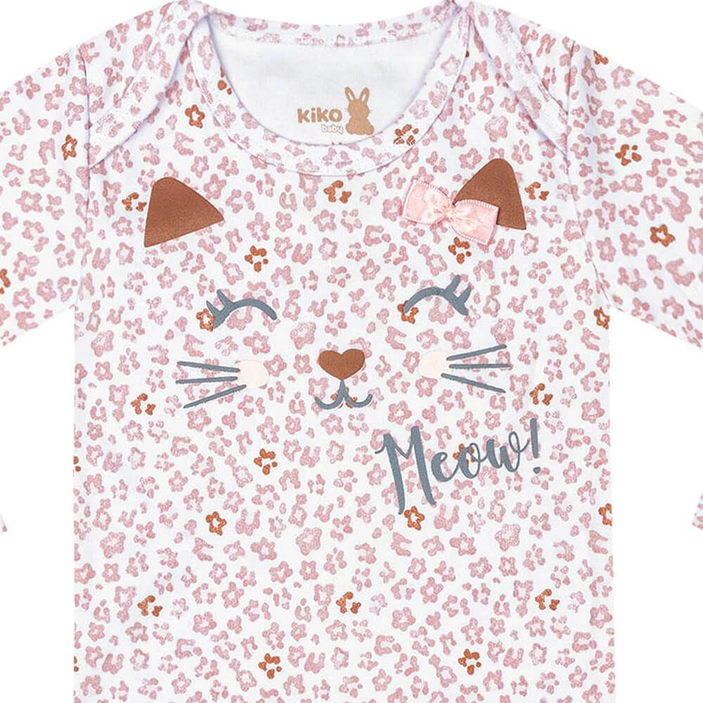 Body Bebê Menina Manga Longa Estampado Meow Rosê