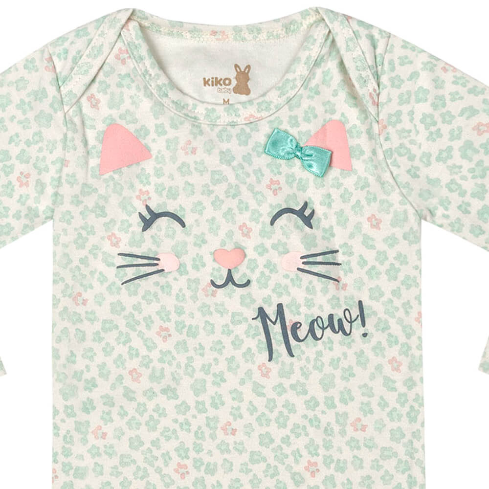 Body Bebê Menina Manga Longa Estampado Meow Verde