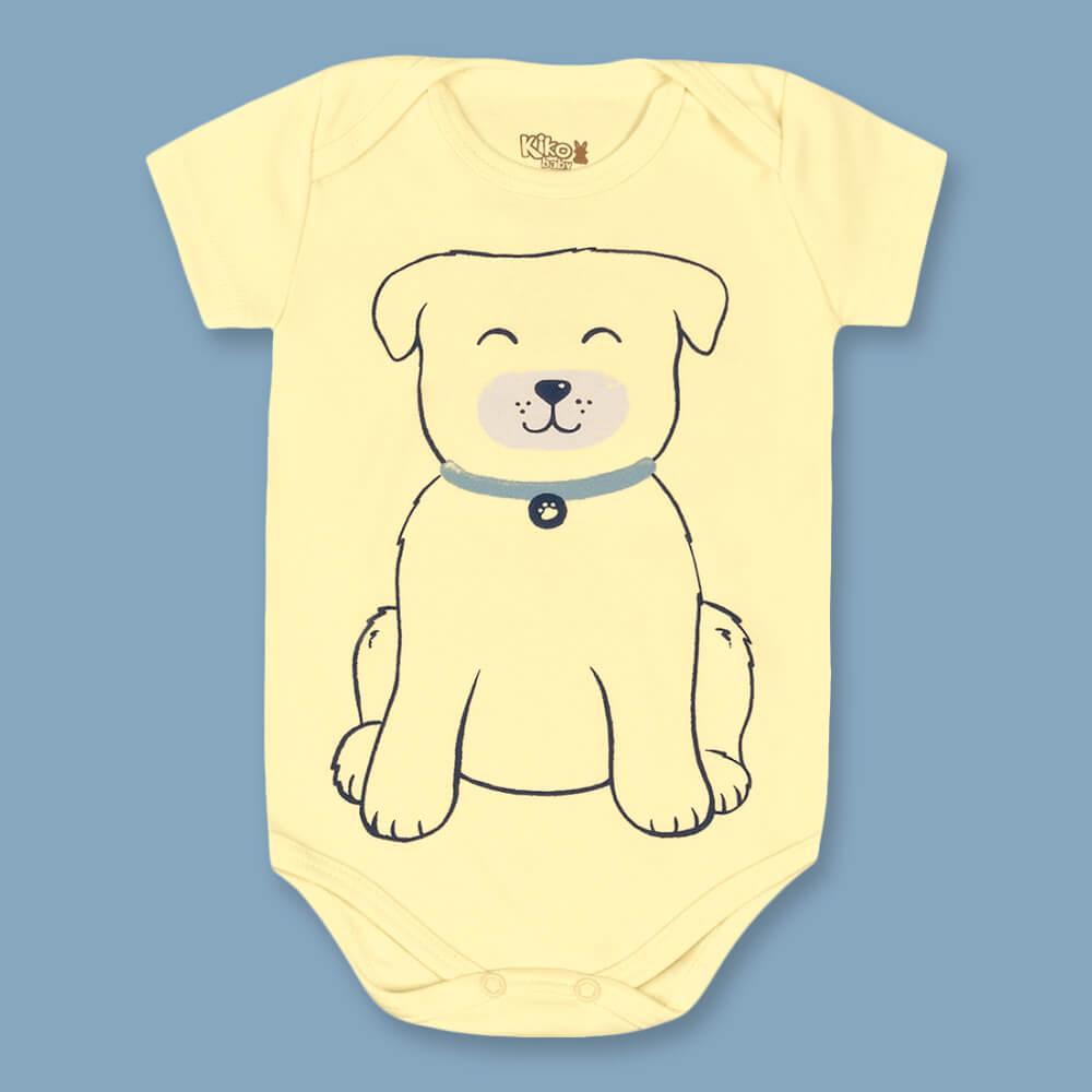 Body Bebê Menino Manga Curta Dog Amarelo