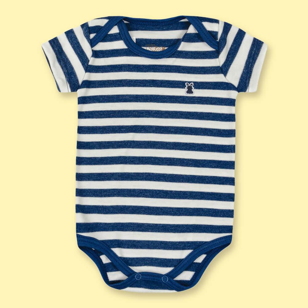 Body Bebê Menino Manga Curta Listradinho Marinho