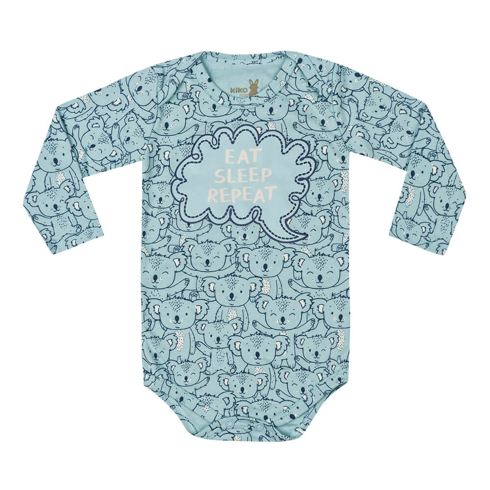Body Bebê Menino Manga Longa Estampado Eat Azul