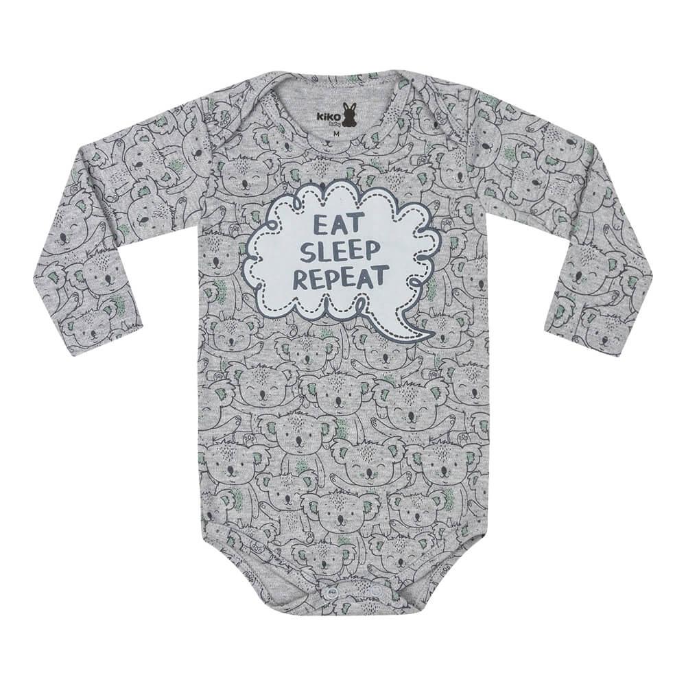 Body Bebê Menino Manga Longa Estampado Eat Cinza