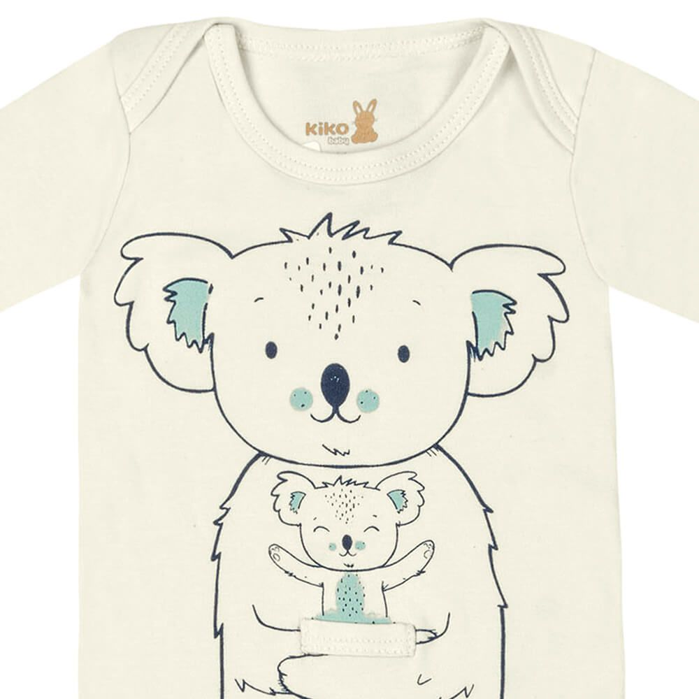 Body Bebê Menino Manga Longa Estampado Koala Creme