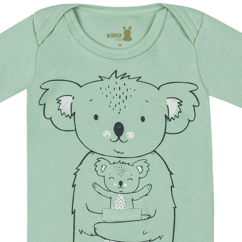 Body Bebê Menino Manga Longa Estampado Koala Verde