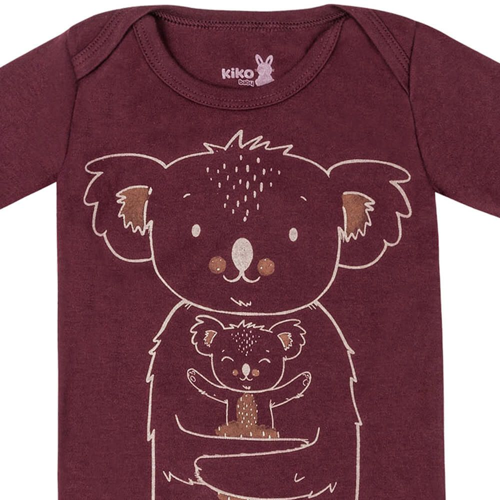 Body Bebê Menino Manga Longa Estampado Koala Vinho