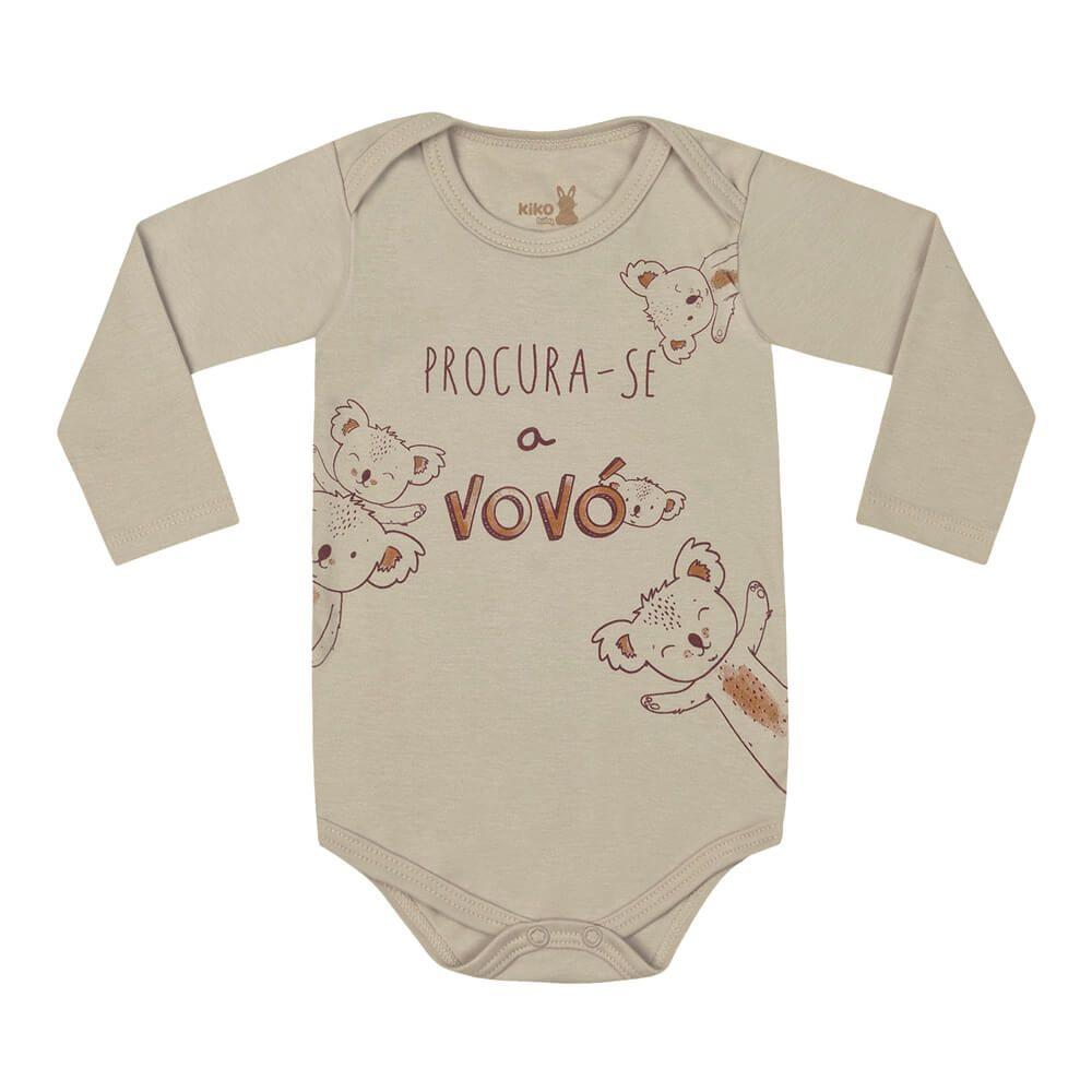 Body Bebê Menino Manga Longa Estampado Vovó
