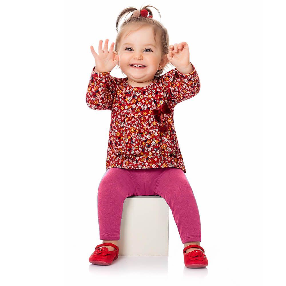 Calça Bebê Menina Legging Básica Rosa