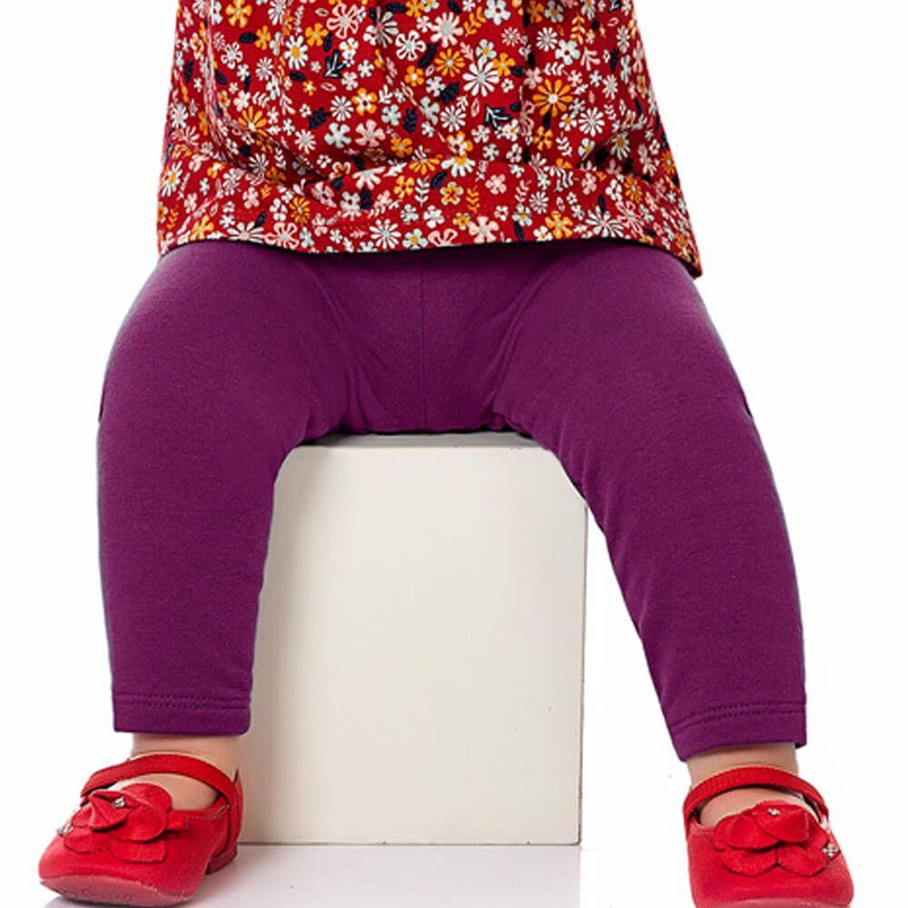 Calça Bebê Menina Legging Básica Roxa