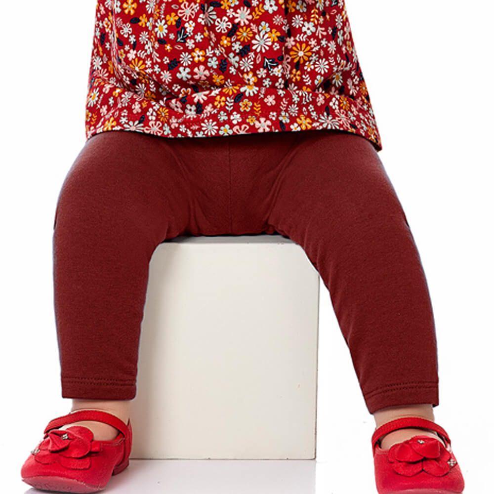 Calça Bebê Menina Legging Básica Vermelha