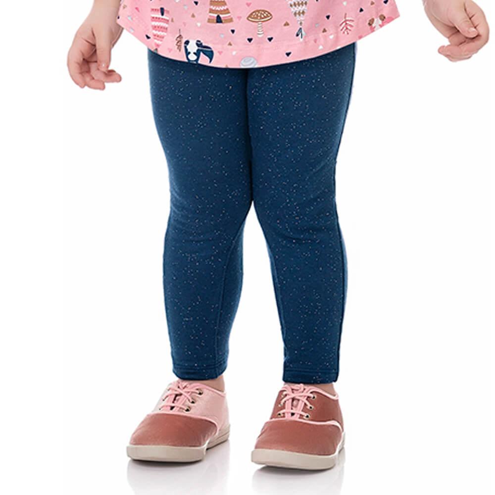 Calça Bebê Menina Legging Glitter Lacinho Marinho
