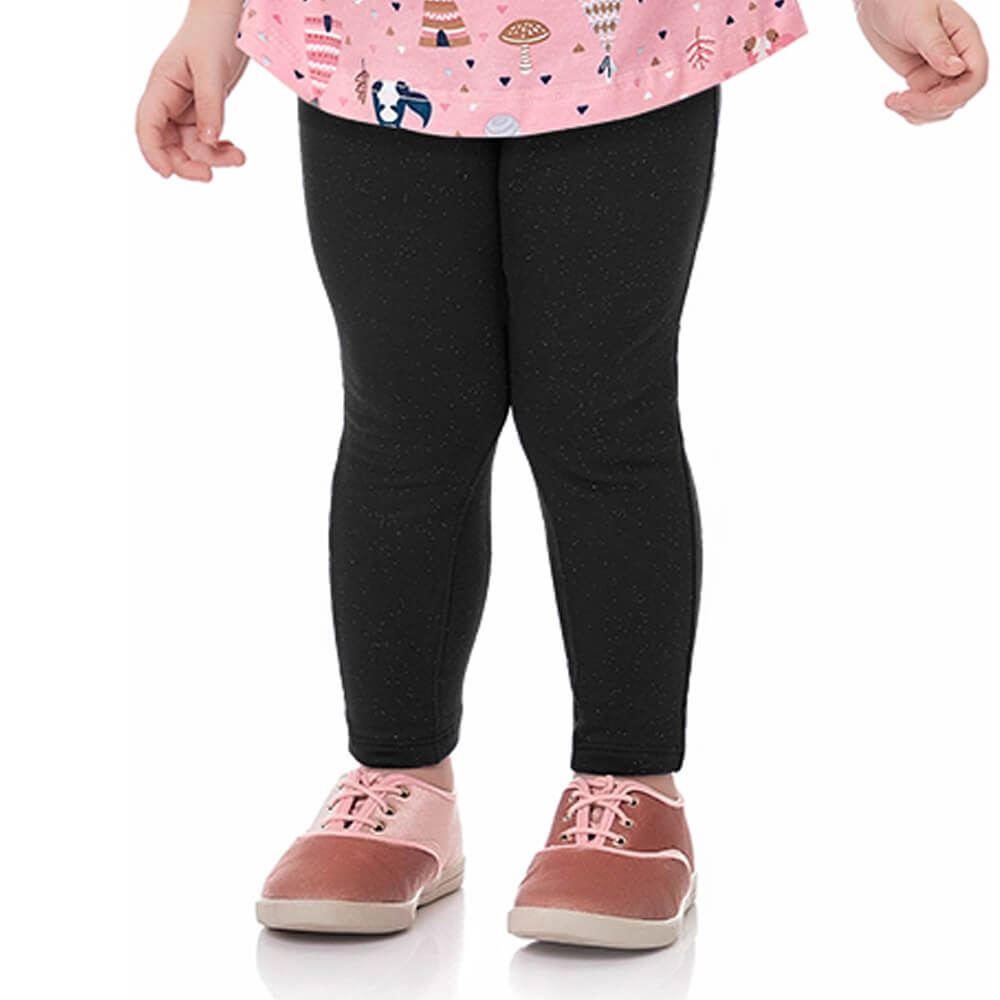 Calça Bebê Menina Legging Glitter Lacinho Preta