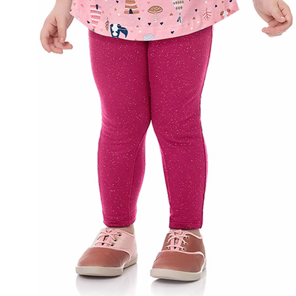 Calça Bebê Menina Legging Glitter Lacinho Rosa