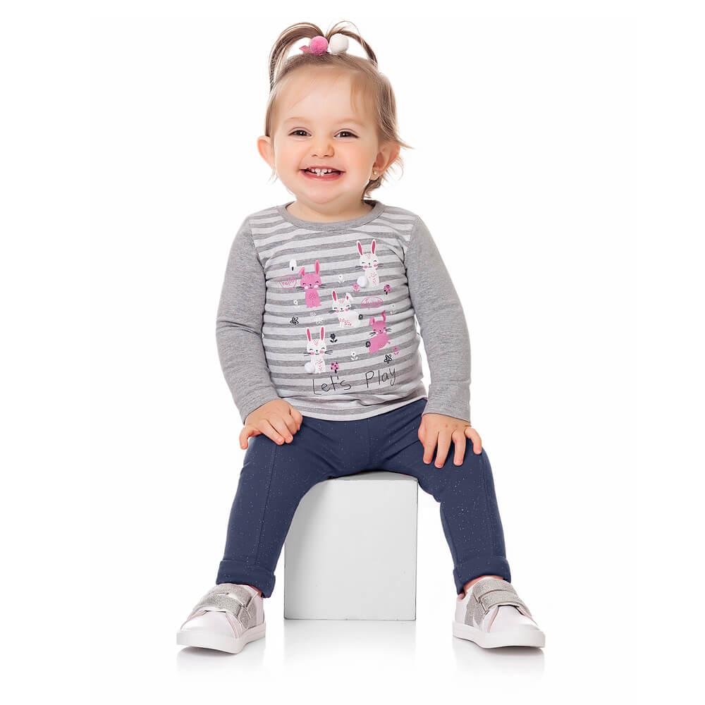 Calça Bebê Menina Legging Glitter Marinho