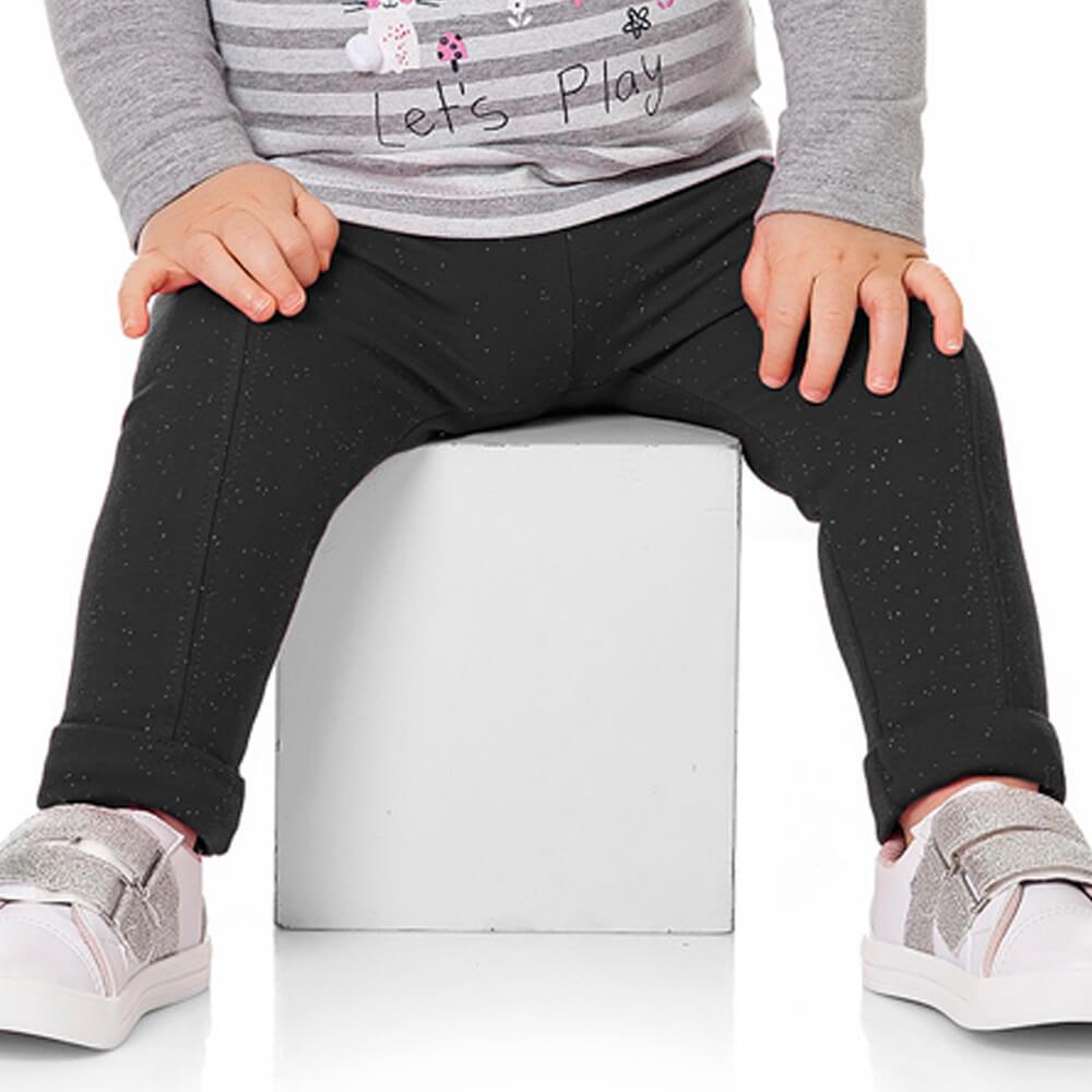 Calça Bebê Menina Legging Glitter Preta