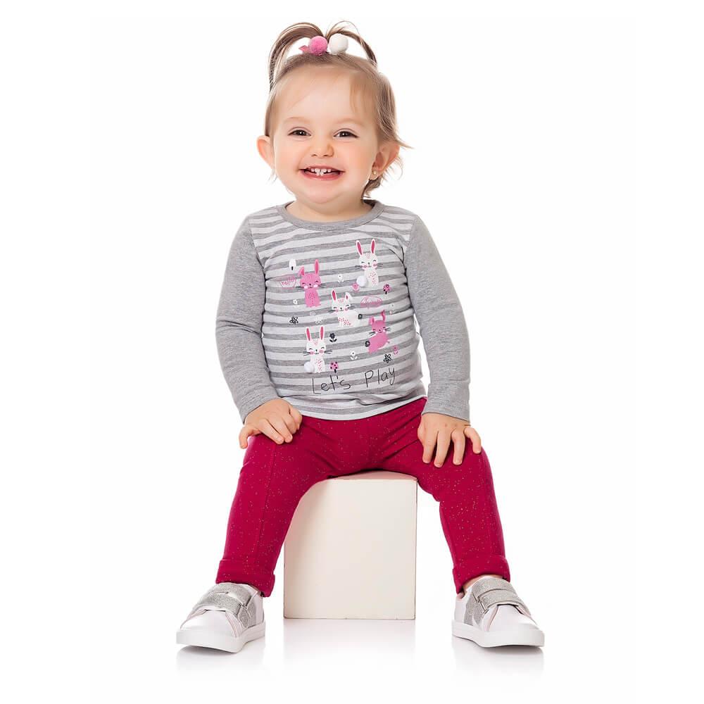 Calça Bebê Menina Legging Glitter Rosa