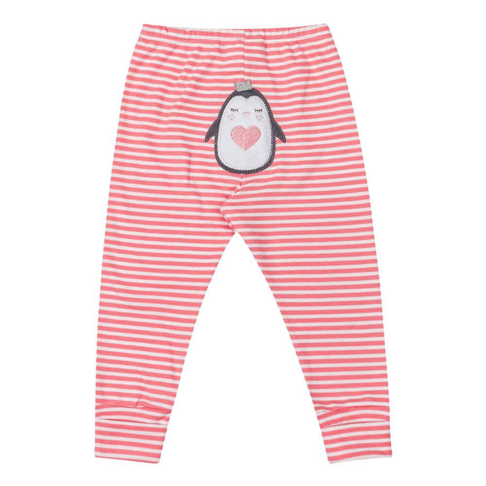Calça Bebê Menina Listrada Pinguin Rosa