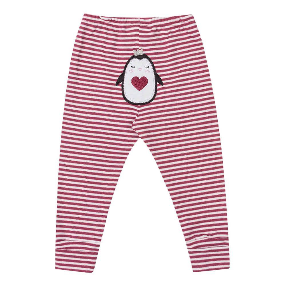 Calça Bebê Menina Listrada Pinguin Rosa Escuro