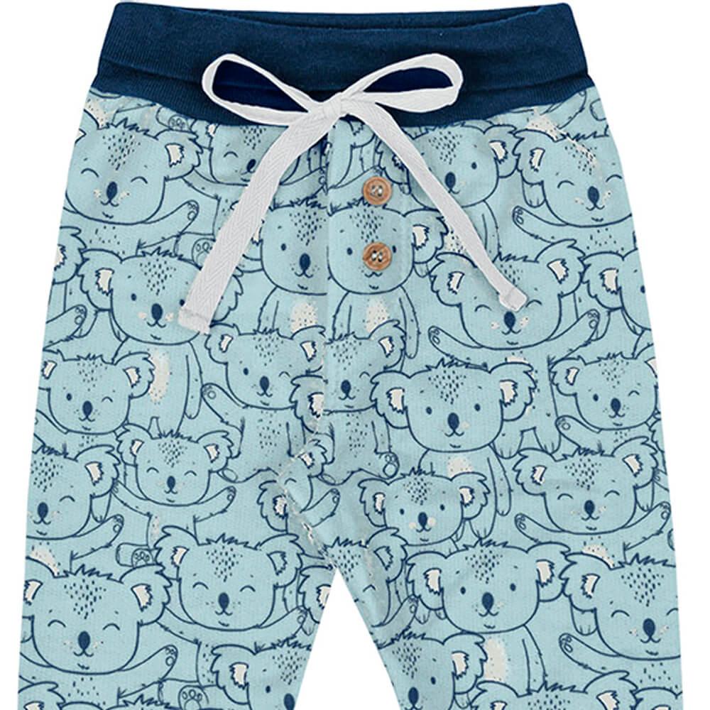 Calça Bebê Menino Estampada Koala Azul