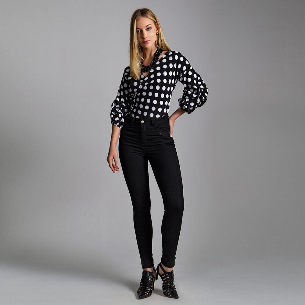 Calça Jeans Feminina Skinny Midi Black