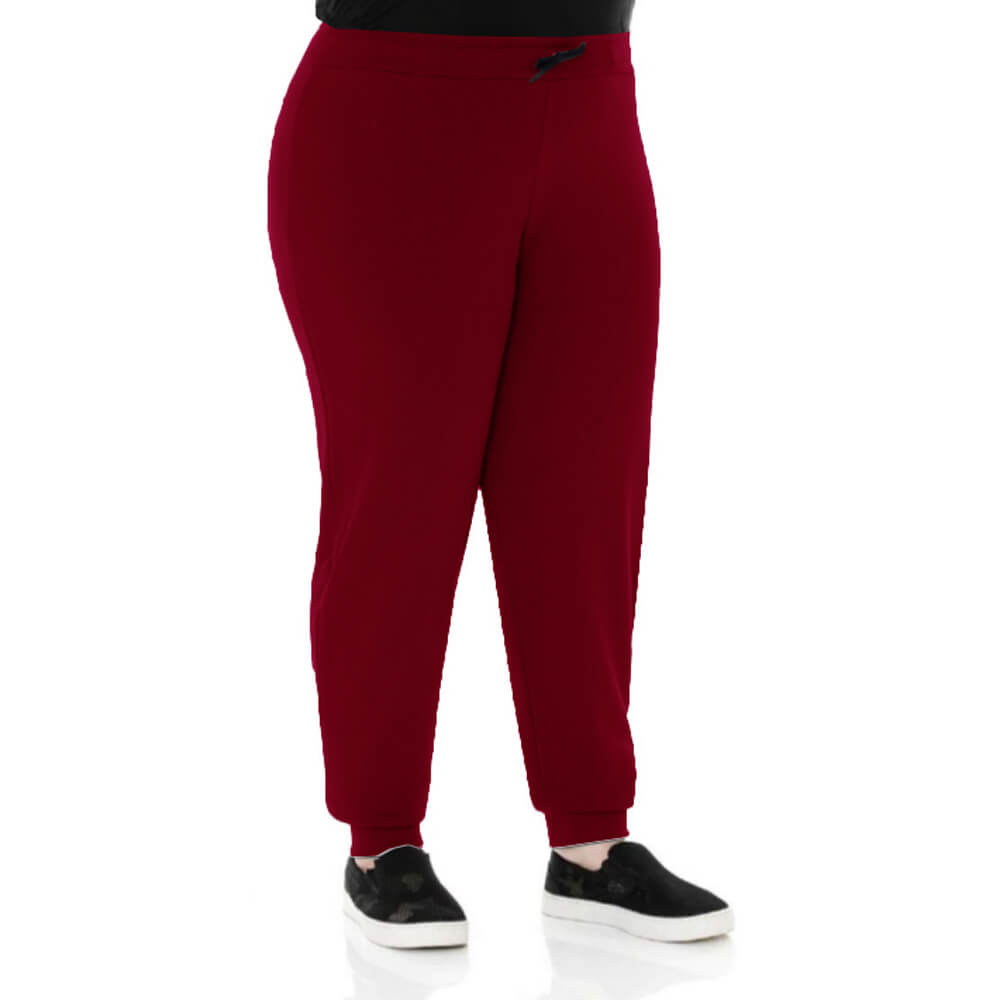 Calça Feminina Moletom Básica Plus Vermelha