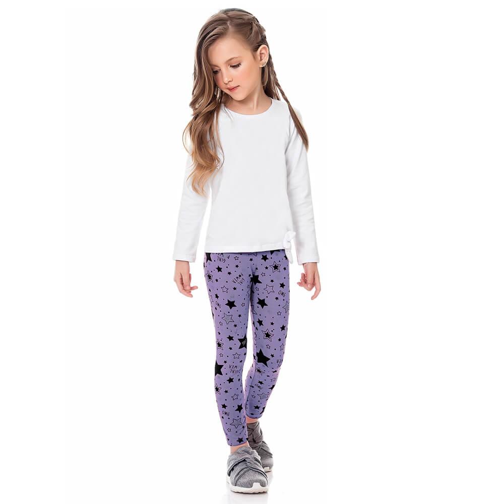 Calça Infantil Juvenil Menina Legging Estampada Star Lilás