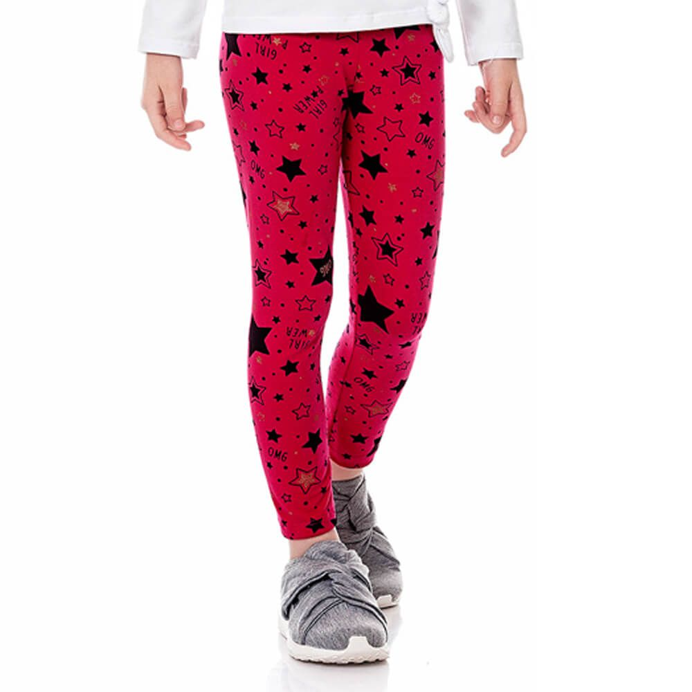 Calça Infantil Juvenil Menina Legging Estampada Star Rosa