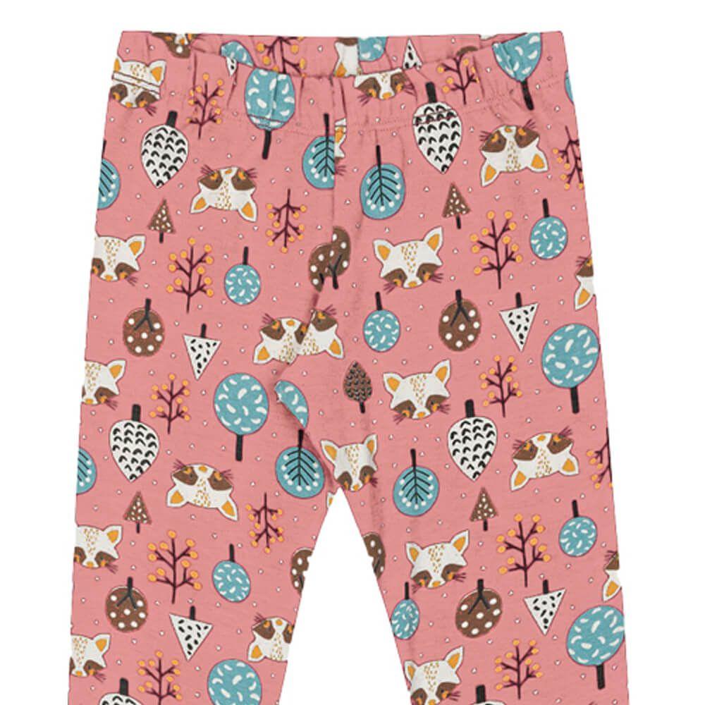 Calça Infantil Menina Legging Estampada Floresta Rosa