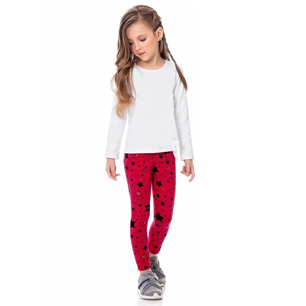 Calça Infantil Menina Legging Estampada Star