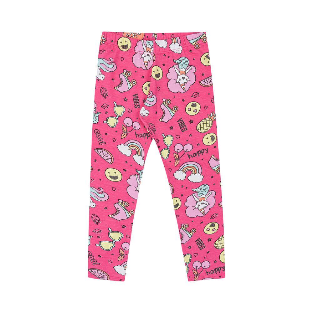 Calça Infantil Menina Legging Estampada Vibes Rosa