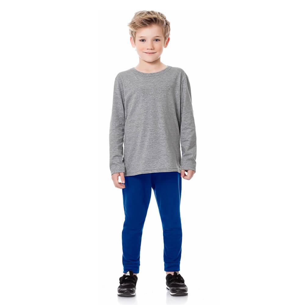 Calça Infantil Menino Moletom Básica Azul