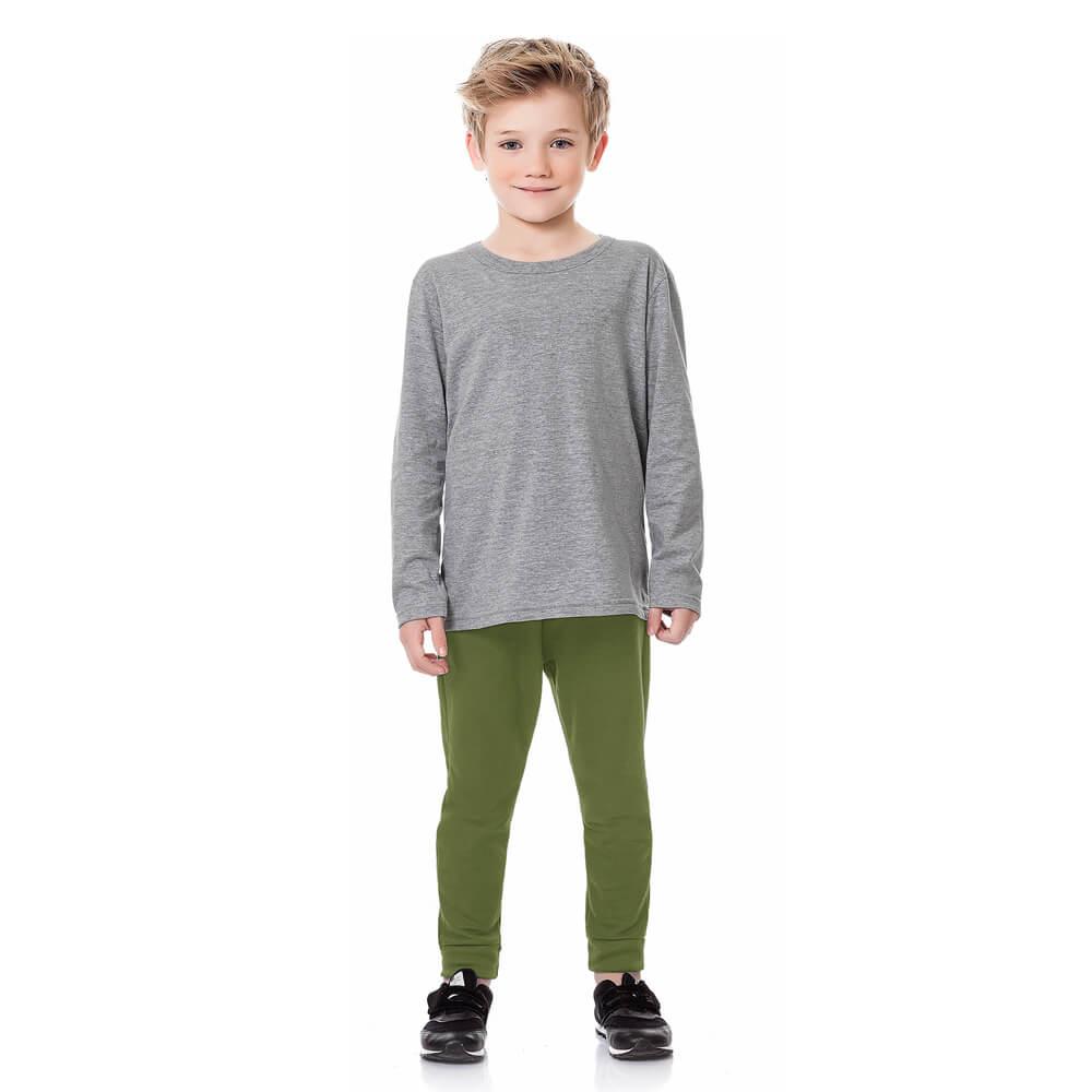 Calça Infantil Menino Moletom Básica Verde