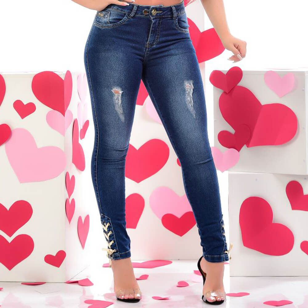 Cigarrete Jeans Feminina Destroyed
