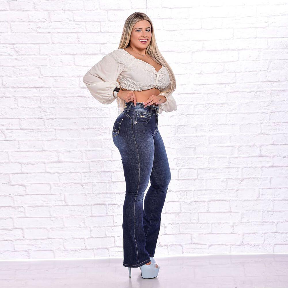 Calça Jeans Feminina Flare Cintura Desfiada