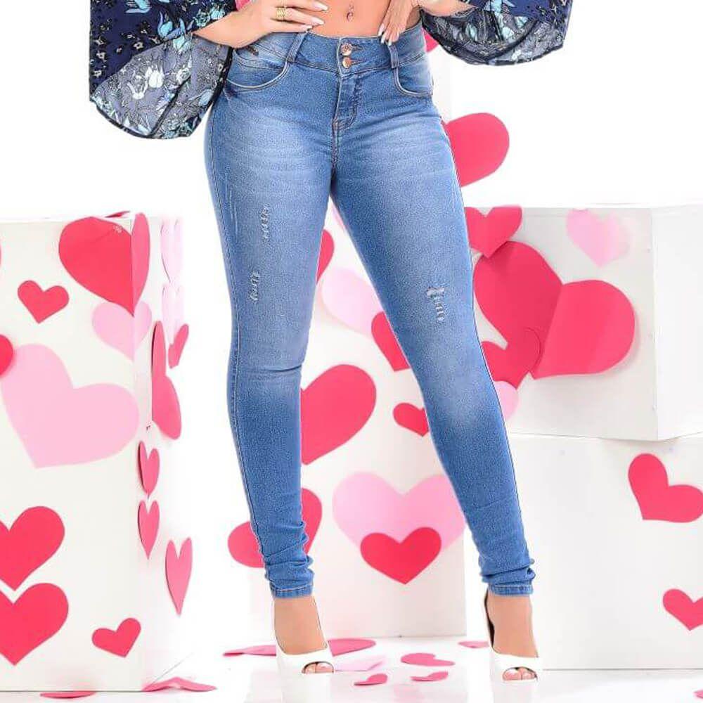 Calça Jeans Feminina Skinny Delavê