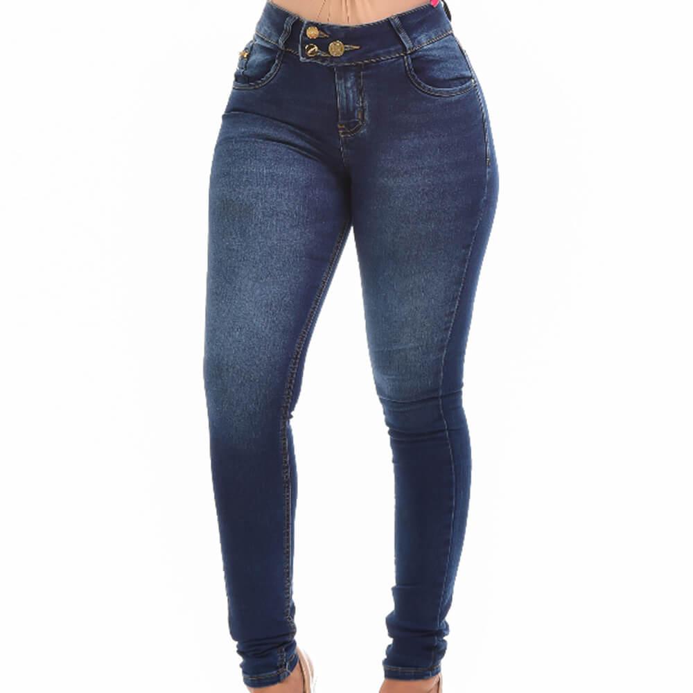 Calça Jeans Feminina Skinny Botão Triplo