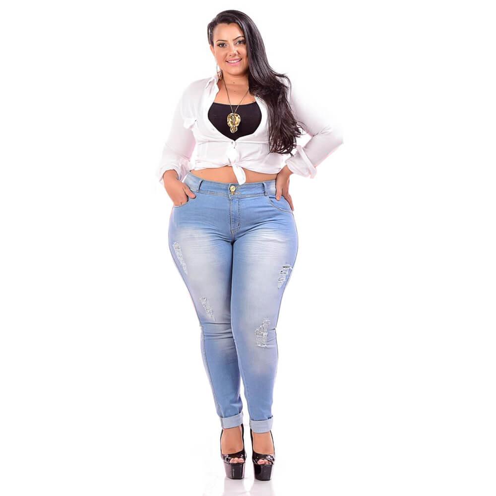 Cigarrete Jeans Feminina Plus Size Cintura Alta Delavê