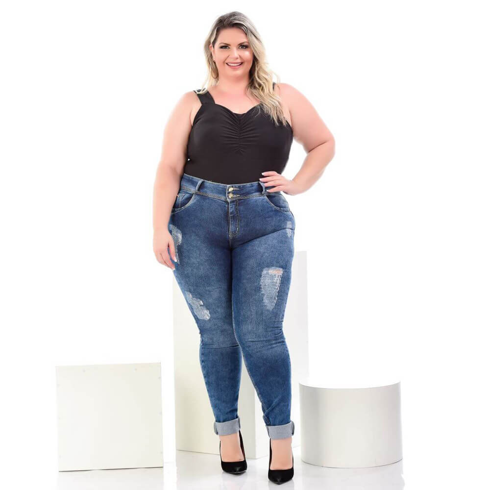 Calça Jeans Feminina Skinny Plus Size Destroyed