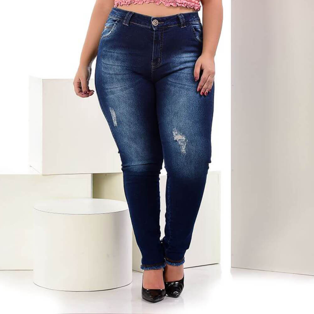 Calça Jeans Feminina Skinny Plus Size Cintura Média Destroyed