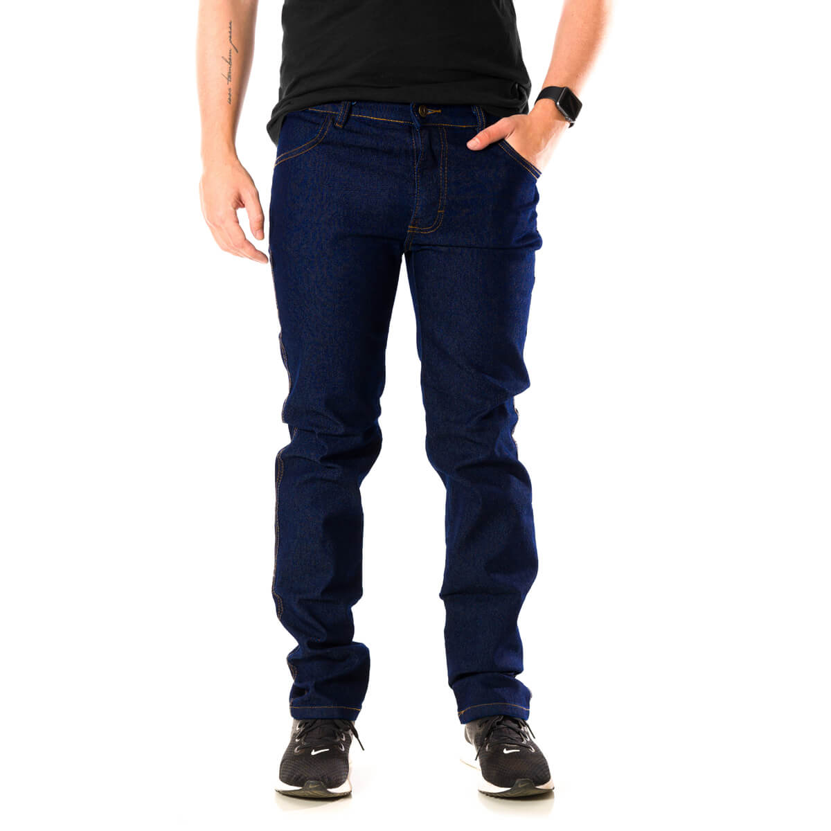 Calça Jeans Masculina Básica Tradicional Elastano