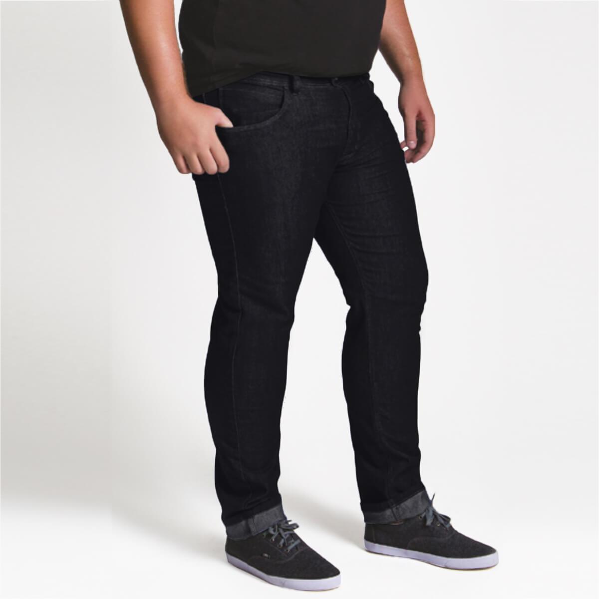 Calça Jeans Masculina Premium Plus Size Elastano Petrol