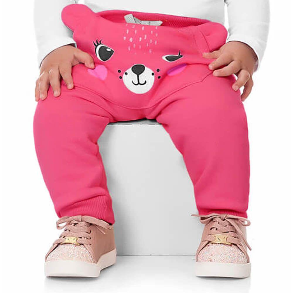 Calça Moletom Bebê Menina Ursinha Pink