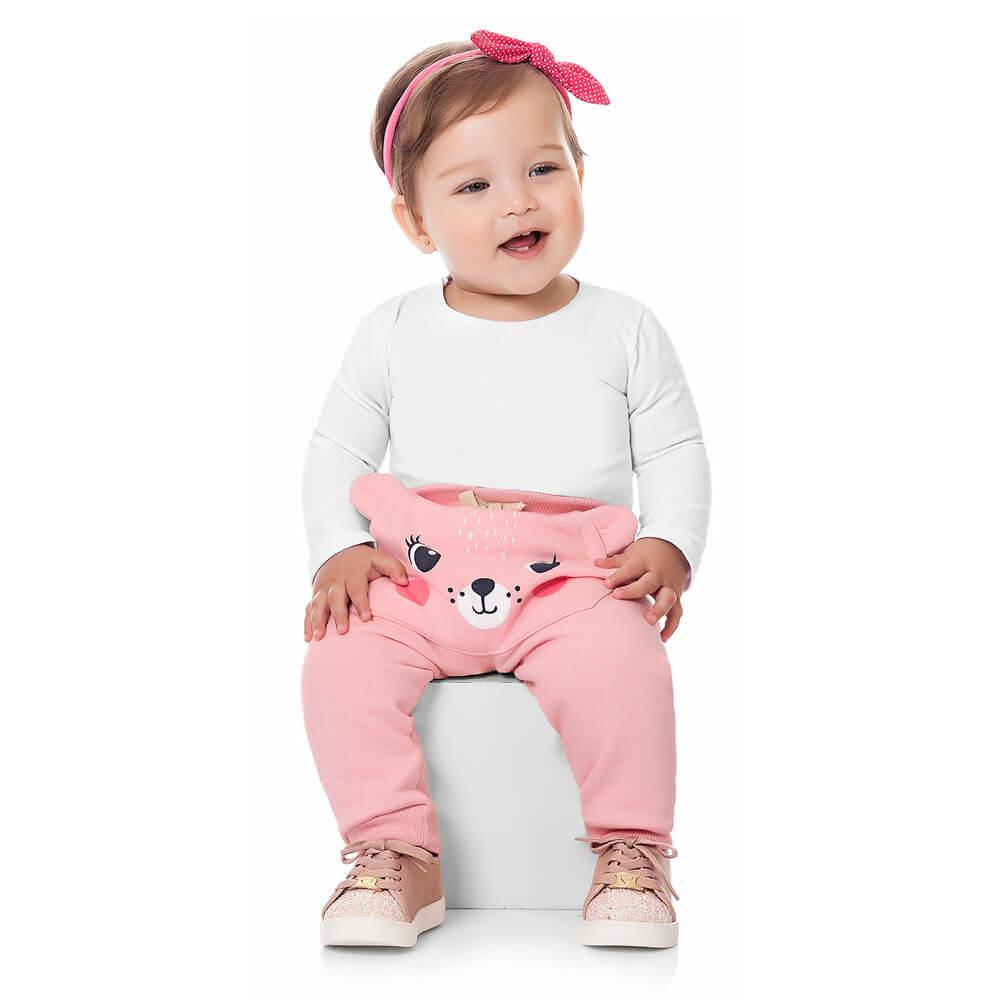 Calça Moletom Bebê Menina Ursinha Rosa