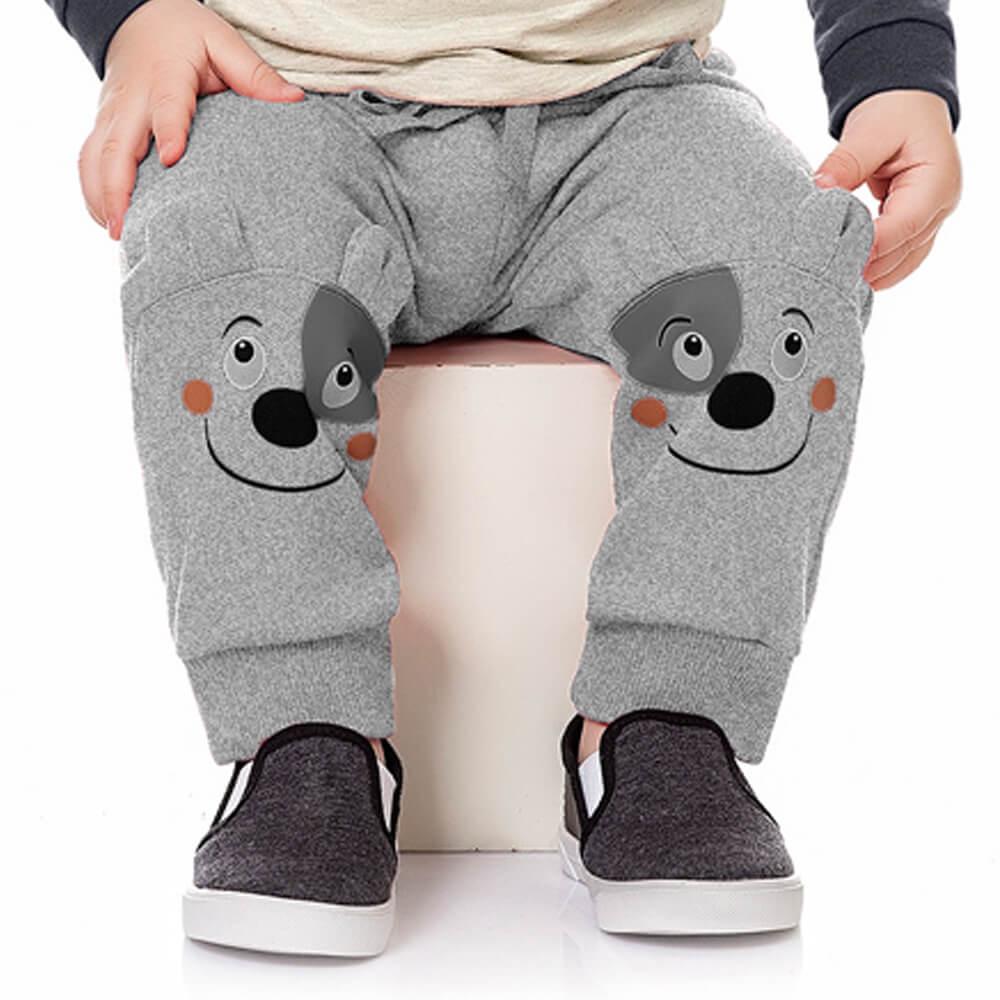 Calça Moletom Bebê Menino Cachorrinho Cinza