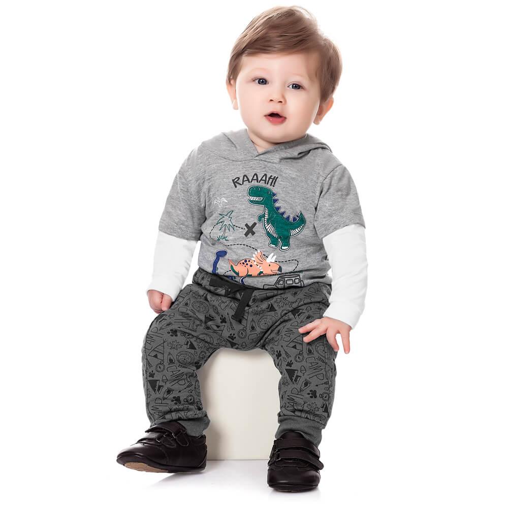 Calça Moletom Bebê Menino Camp Chumbo