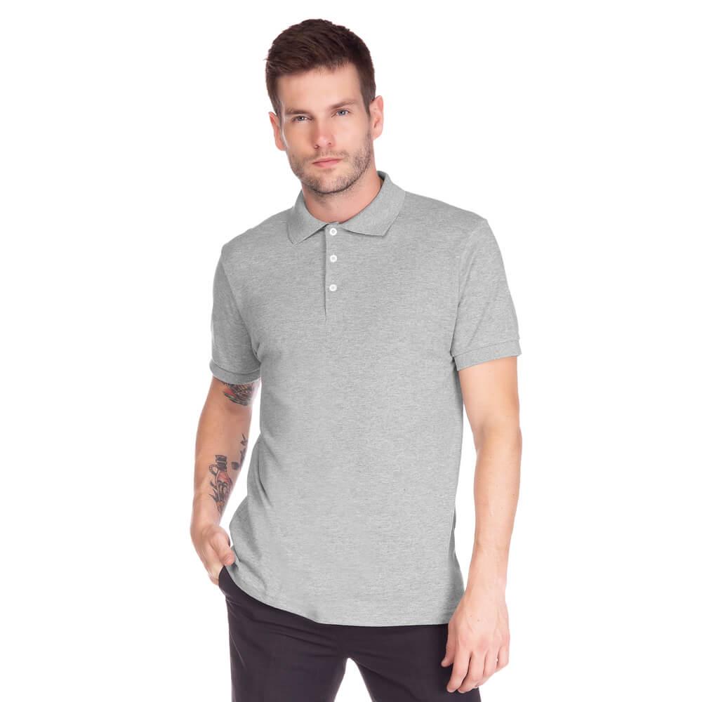 Camisa Polo Masculina Básica Cinza