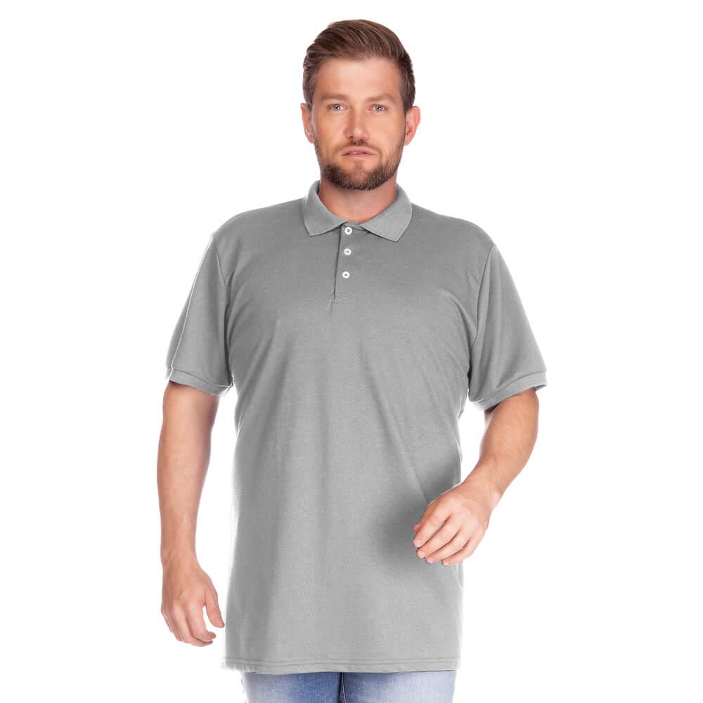 Camisa Polo Masculina Básica Plus Cinza