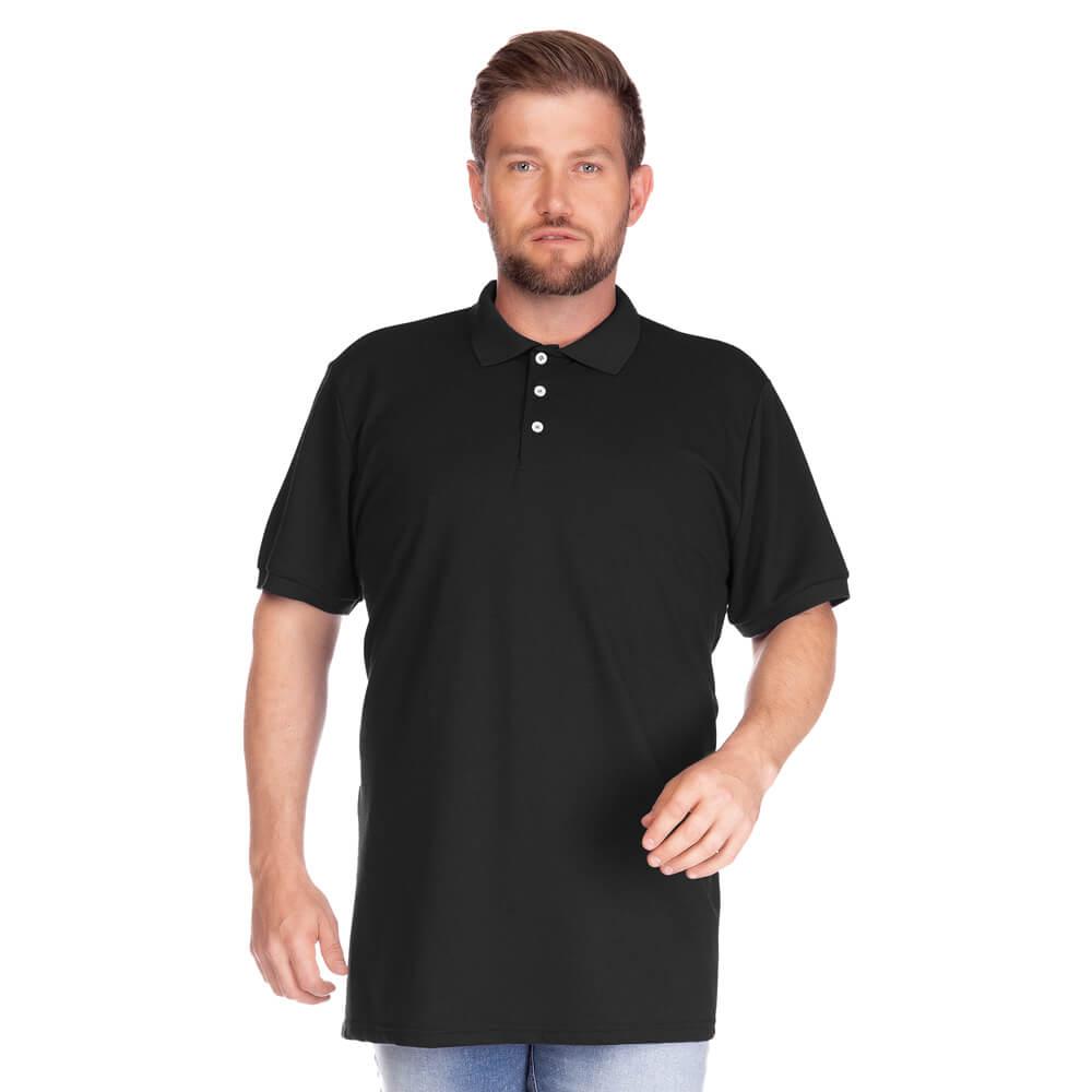 Camisa Polo Masculina Básica Plus Preta