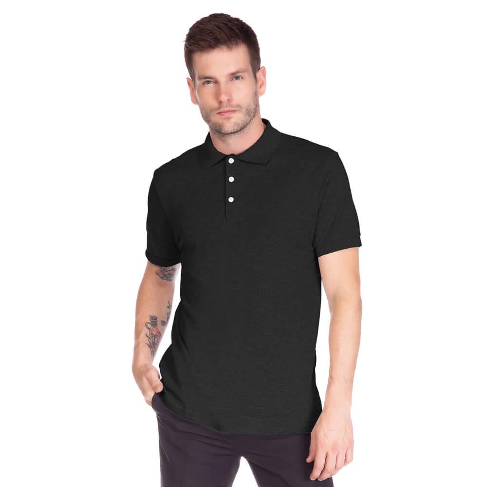 Camisa Polo Masculina Básica Preta